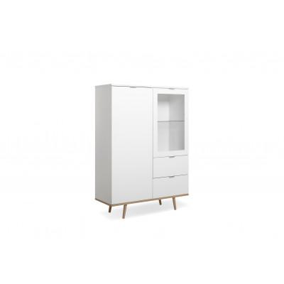 Buffet 1 porte/1 porte vitrée/2 tiroirs GOTEBORG blanc/chêne sonoma