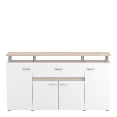 Buffet bas 2 + 2 portes/1 tiroir RÉVOLUTION chêne brossé/blanc perle