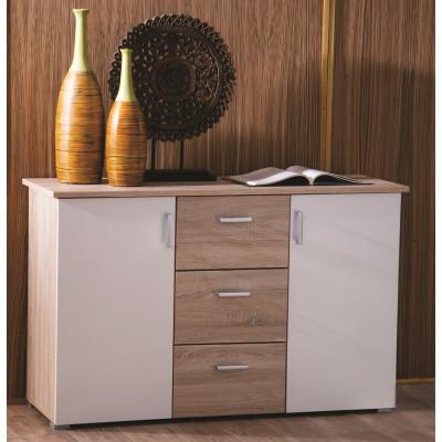 Buffet bas 2 portes/3 tiroirs SWIFT chêne brossé/blanc mat