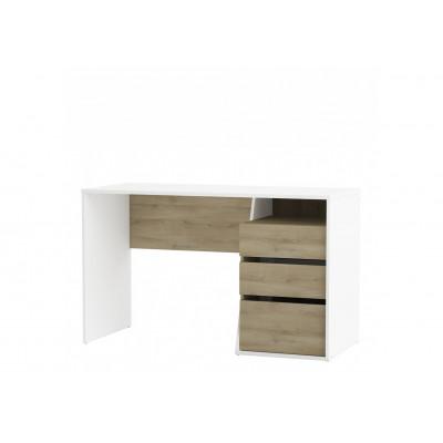 Bureau JEFFERSON 3 tiroirs chêne Kronberg et blanc