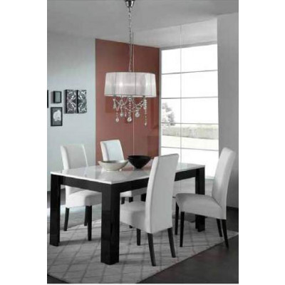 Table MODENA laqué Noir / Blanc