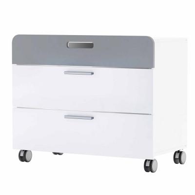 Commode 3 tiroirs sur roulettes FILOU blanc mat/gris foncé