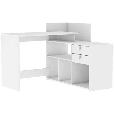 Bureau d'angle 2 tiroirs VISTA blanc