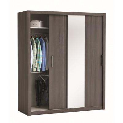 Armoire 2 portes coulissantes + miroir PRETTY chêne vulcano