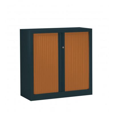 Armoire métal basse à rideaux L120 H100 cm coloris anthracite/portes cherry