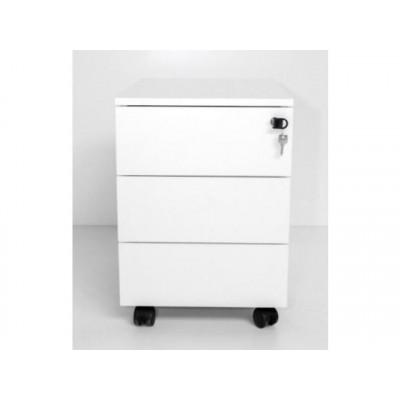 Caisson à roulettes 3 tiroirs métal blanc de la gamme STELLA