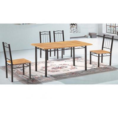 Ensemble Table + 6 chaises ARYA  noir/chêne