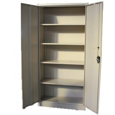 Armoire haute 2 portes 120 cm gris clair métallique