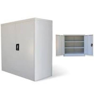 Armoire basse 2 portes 100 cm gris clair métallique