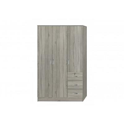 Armoire PALERME chêne grisé 3 portes 3 tiroirs