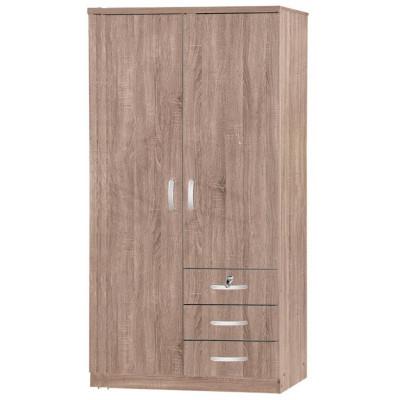 Armoire 2 portes/3 tiroirs  CHERRY chêne Sonoma