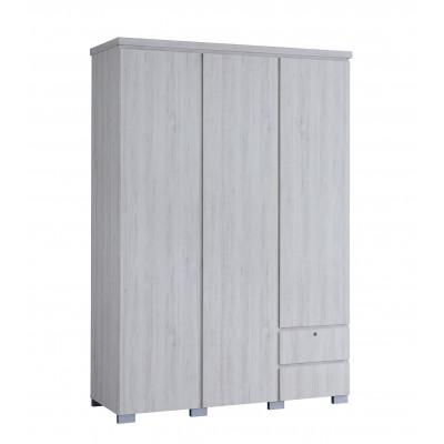 Armoire 3 portes/2 tiroirs ALBA chêne clair relief