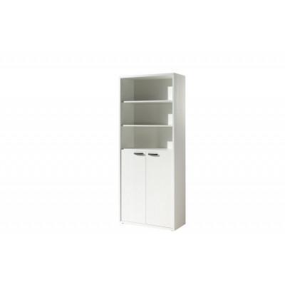 Armoire Haute 2 portes + étagères RONTO BLANC