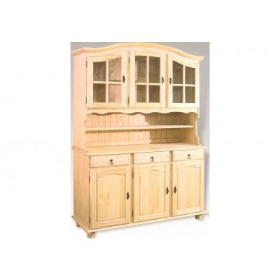 Buffet vaisselier 6 portes/3 tiroirs NEUILLY en pin massif naturel