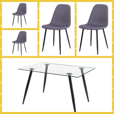Ensemble table + 4 chaises BELLA tissu gris/verre transparent