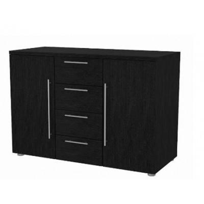 Buffet bas 2 portes 4 tiroirs BERGEN  Chêne Noir
