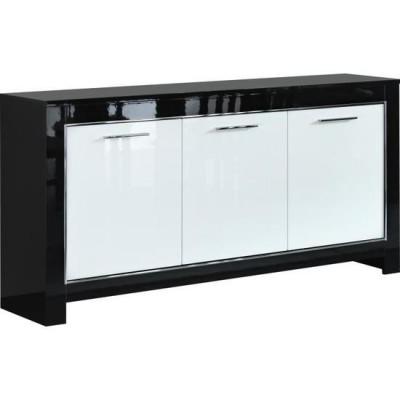 Buffet bas 3 portes CHESS noir/blanc laqué