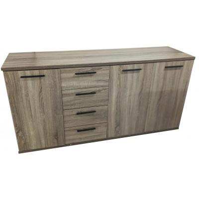 Buffet bas 3 portes/ 4 tiroirs RONDO chêne