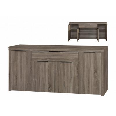 Buffet bas 4 portes/1 tiroir MOKA chêne grisé