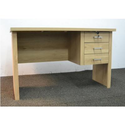 Bureau 3 tiroirs avec une serrure LEONCE chêne vicomte