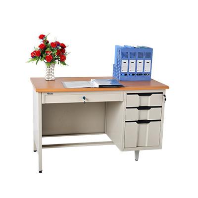 Bureau métallique avec caisson B3T-120 coloris gris clair/naturel