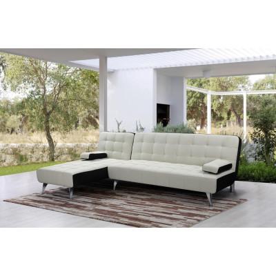 Canapé d'angle convertible AVARUA tissu gris/noir