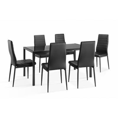 Ensemble table + 6 chaises CHELSEA noir