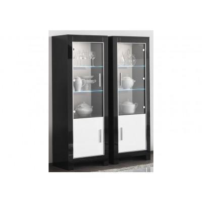 Vitrine  2 portes CHESS 2 noir/blanc laqué