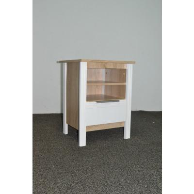 Chevet 1 niche/ 1 tiroir KENT chêne clair/blanc