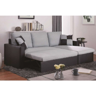 Canapé d'angle convertible DALLAS tissu lin gris/pvc noir