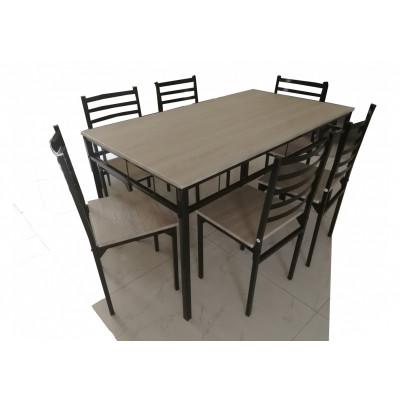Ensemble table + 6 chaises SQUARE chêne grisé/noir