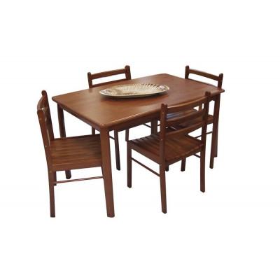 Ensemble Table + 4 chaises START en bois massif (hévéa) teinté merisier