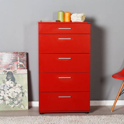 Commode TREND 5 tiroirs Rouge