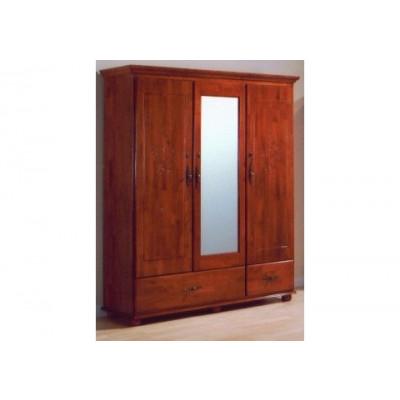 Armoire 3 portes/3 tiroirs/1 miroir FLORA en hévéa massif teinté merisier