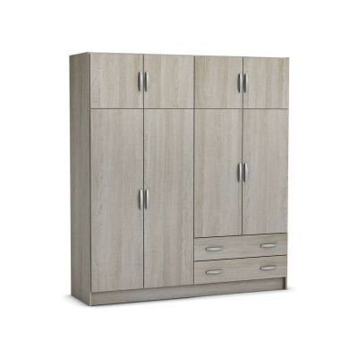 Armoire 4+4 portes/2 tiroirs TOP SHANNON chêne/blanc