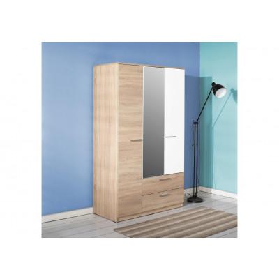 Armoire ALPHA 3 portes 2 tiroir décor chêne et blanc brillant