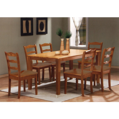 Ensemble Table + 6 chaises HAVANA en hévéa massif teinté miel