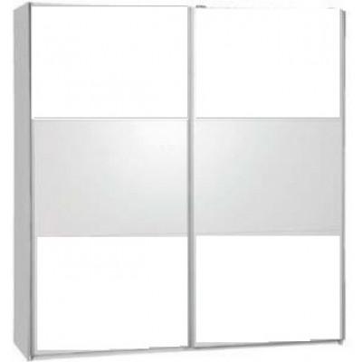 Armoire 150 MALAGA 2 portes coulissantes BLANC +Miroir