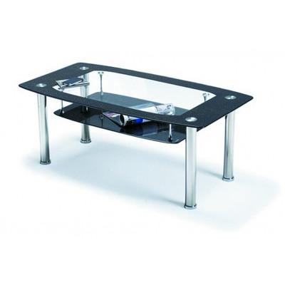 Table de salon ELISA verre noir/chrome