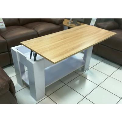 Table de salon LIFT blanc/plateau chêne