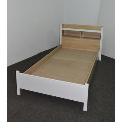 Lit 90x190 cm KENT chêne clair/blanc