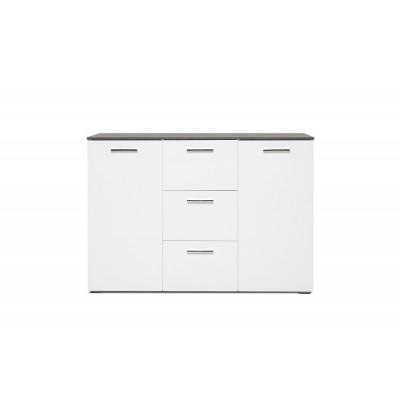 Buffet bas 2 portes 3 tiroirs MAGIC béton foncé/blanc