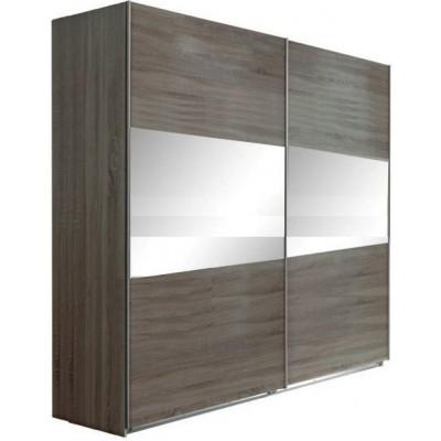 Armoire 2 portes coulissantes 200 MALAGA chêne hiver/miroir