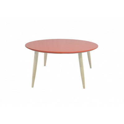 Table basse scandinave ronde MANON rouge corail