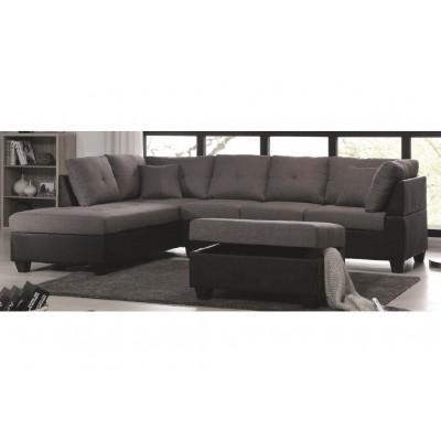 Canapé d'angle avec pouf MEMPHIS tissu lin gris/pvc noir