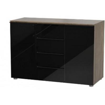 Buffet bas  2 portes 4 tiroirs NARVIK Chêne/Noir