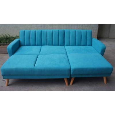Canapé d'angle convertible + pouf NOUMEA tissu bleu canard