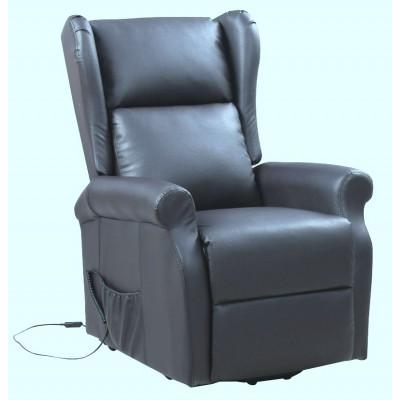 Fauteuil de relaxation et releveur électrique PARIS simili cuir gris foncé