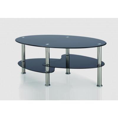 Table de salon HALLY 2 chrome/verre noir transparent