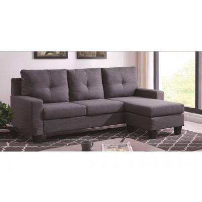 Canapé d'angle avec pouf OMAHA tissu lin gris